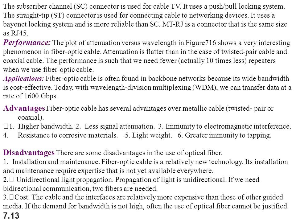The subscriber channel (SC) connector is used for cable TV