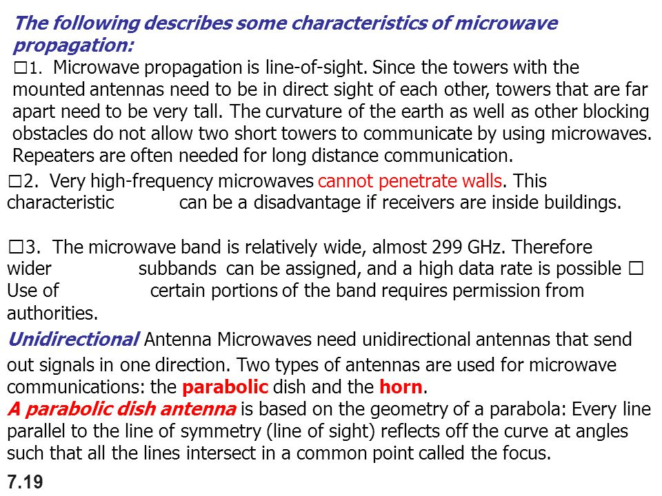 The following describes some characteristics of microwave propagation: