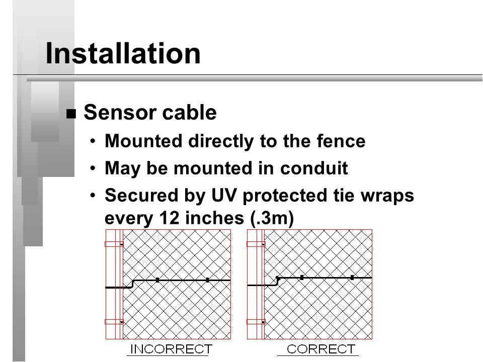 Installation Sensor cable Mounted directly to the fence