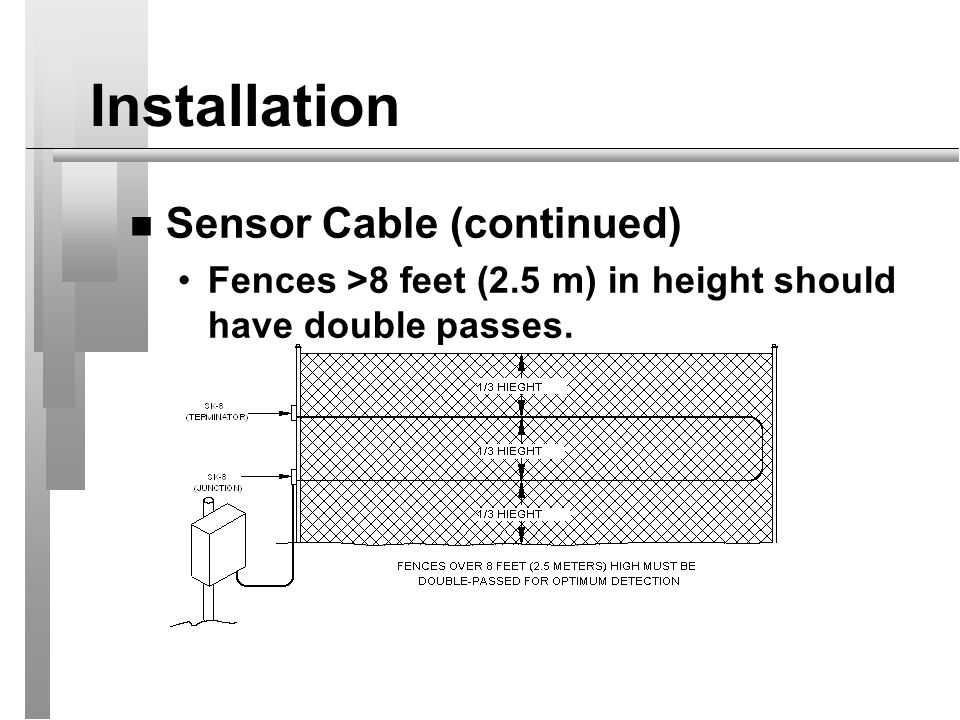Installation Sensor Cable (continued)