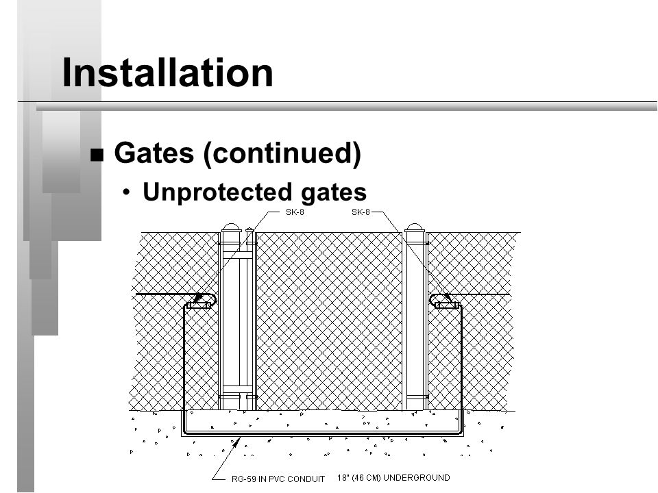 Installation Gates (continued) Unprotected gates