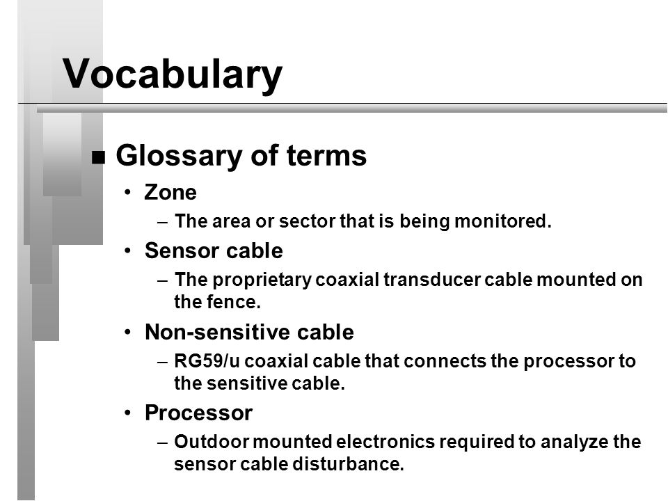 Vocabulary Glossary of terms Zone Sensor cable Non-sensitive cable