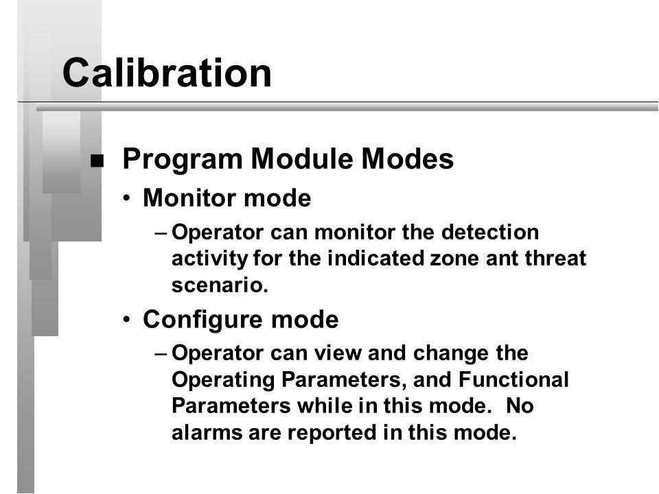 Calibration Program Module Modes Monitor mode Configure mode