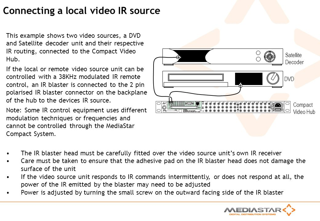 Connecting a local video IR source