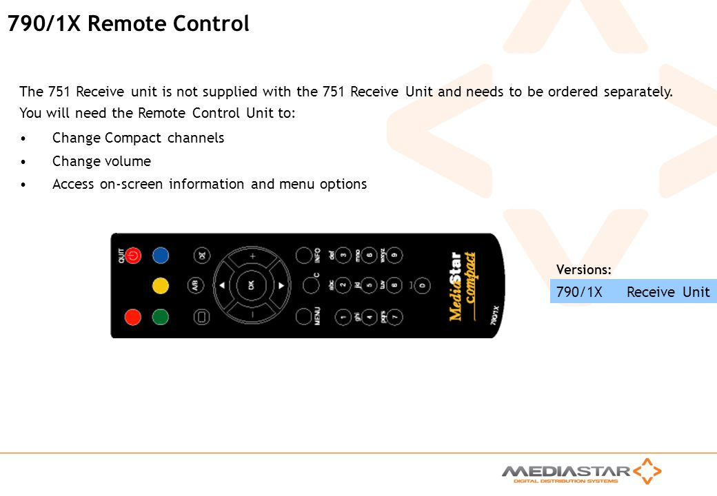 790/1X Remote Control The 751 Receive unit is not supplied with the 751 Receive Unit and needs to be ordered separately.