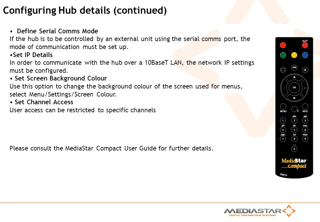 Configuring Hub details (continued)