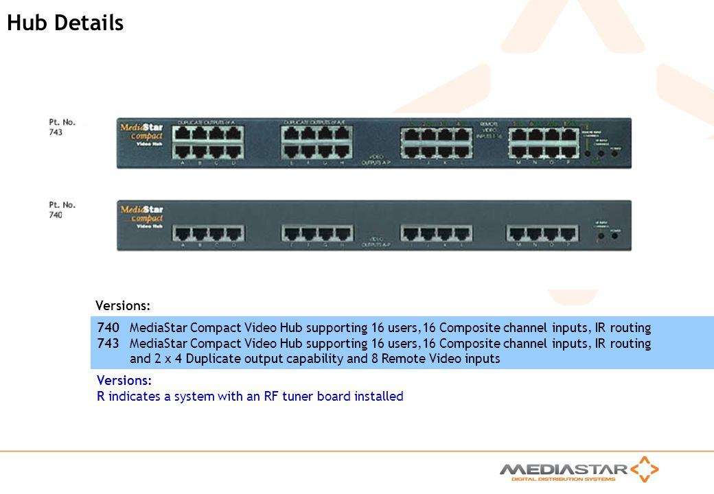 Hub Details Versions: 740 MediaStar Compact Video Hub supporting 16 users,16 Composite channel inputs, IR routing.