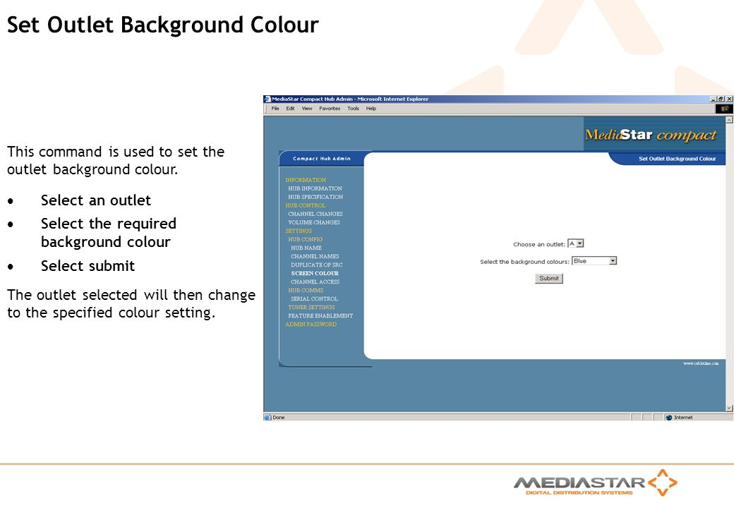 Set Outlet Background Colour