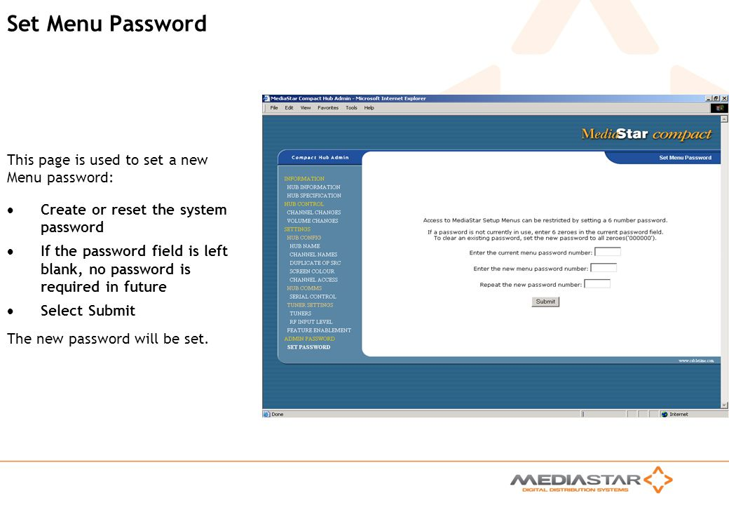Set Menu Password This page is used to set a new Menu password: