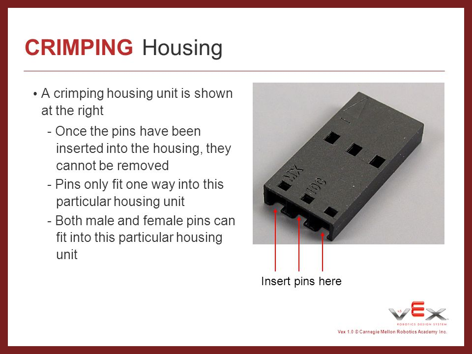 CRIMPING Housing A crimping housing unit is shown at the right