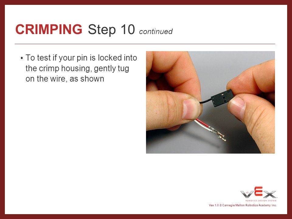 CRIMPING Step 10 continued
