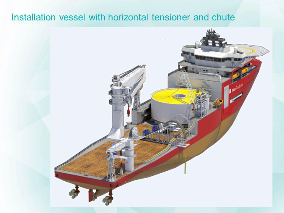 Installation vessel with horizontal tensioner and chute