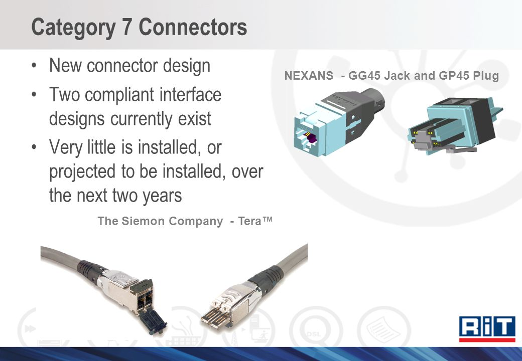 Category 7 Connectors New connector design