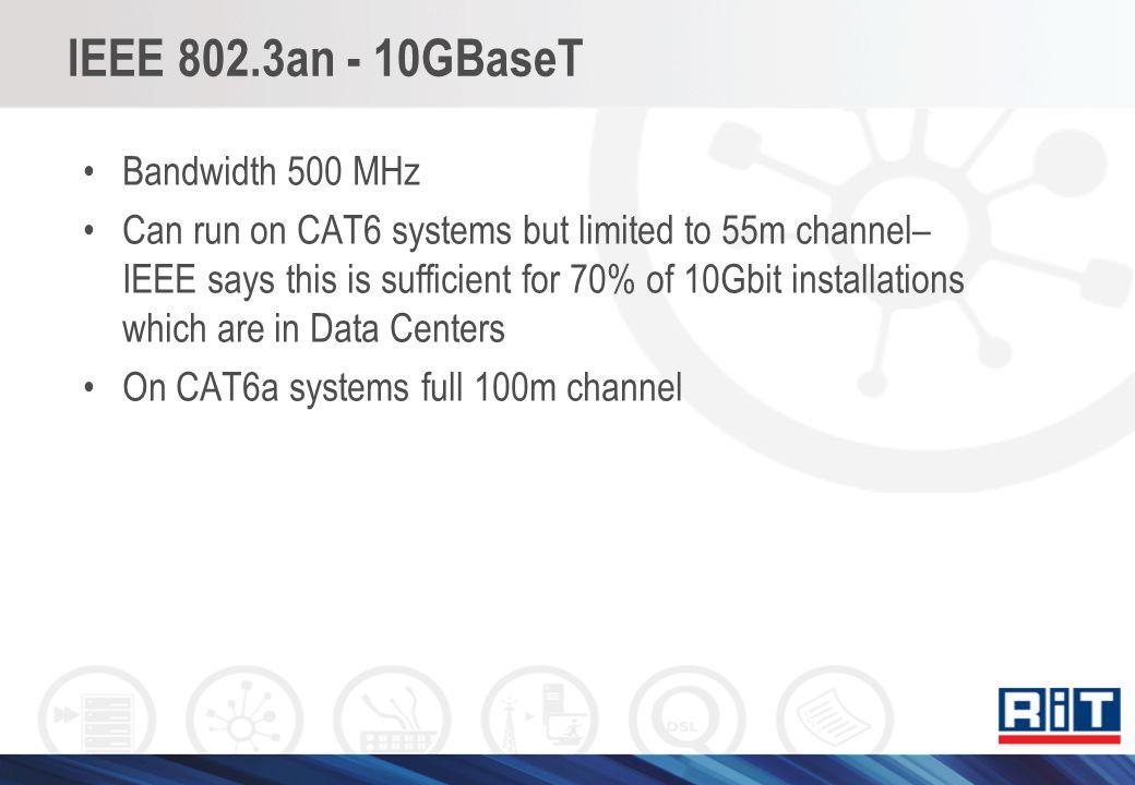 IEEE 802.3an - 10GBaseT Bandwidth 500 MHz