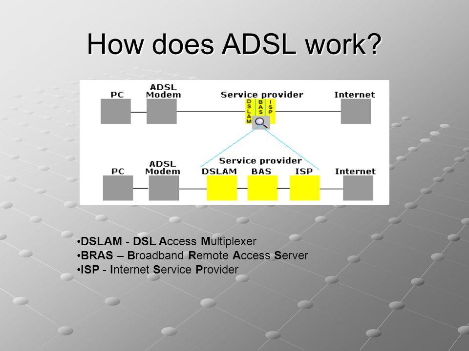 How does ADSL work •DSLAM - DSL Access Multiplexer