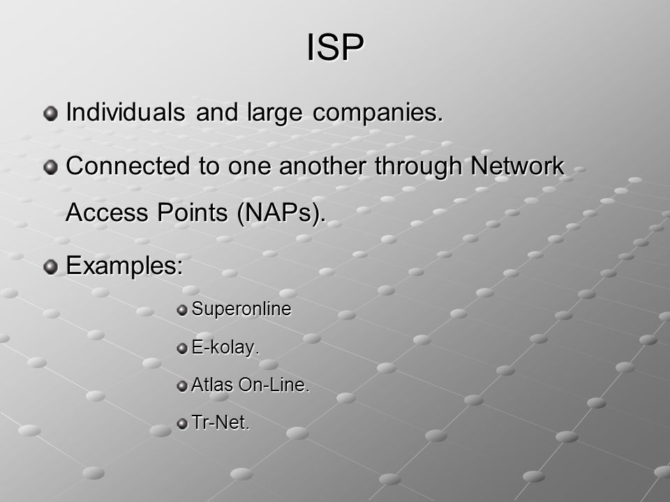 ISP Individuals and large companies.