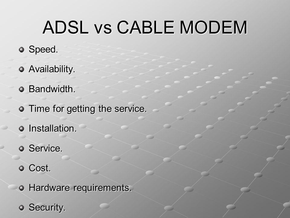 ADSL vs CABLE MODEM Speed. Availability. Bandwidth.