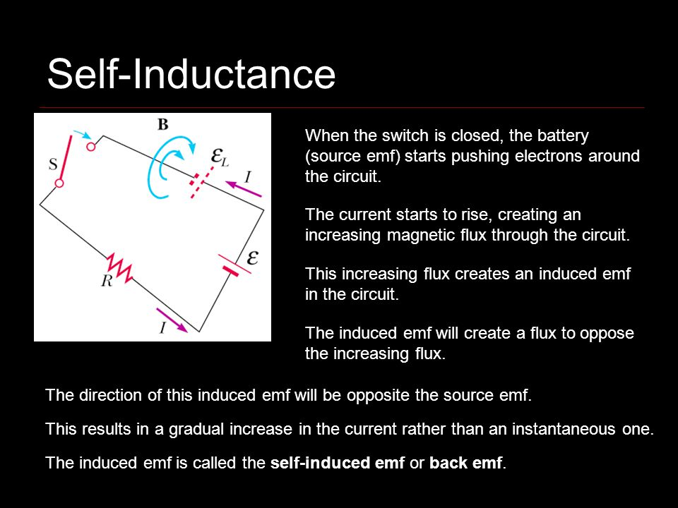 Self-Inductance When the switch is closed, the battery (source emf) starts pushing electrons around the circuit.