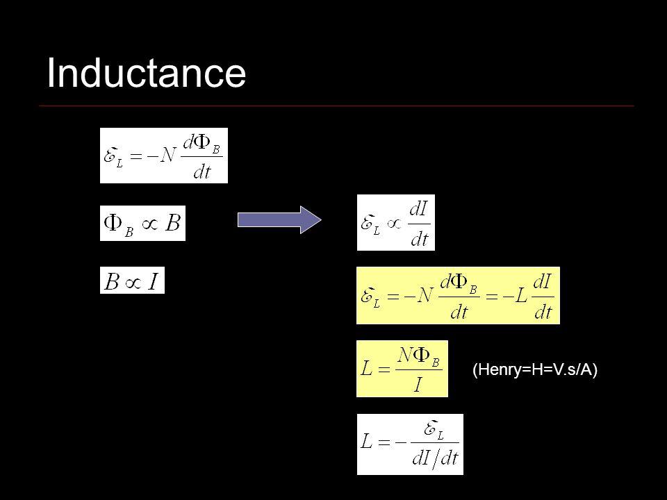 Inductance (Henry=H=V.s/A)