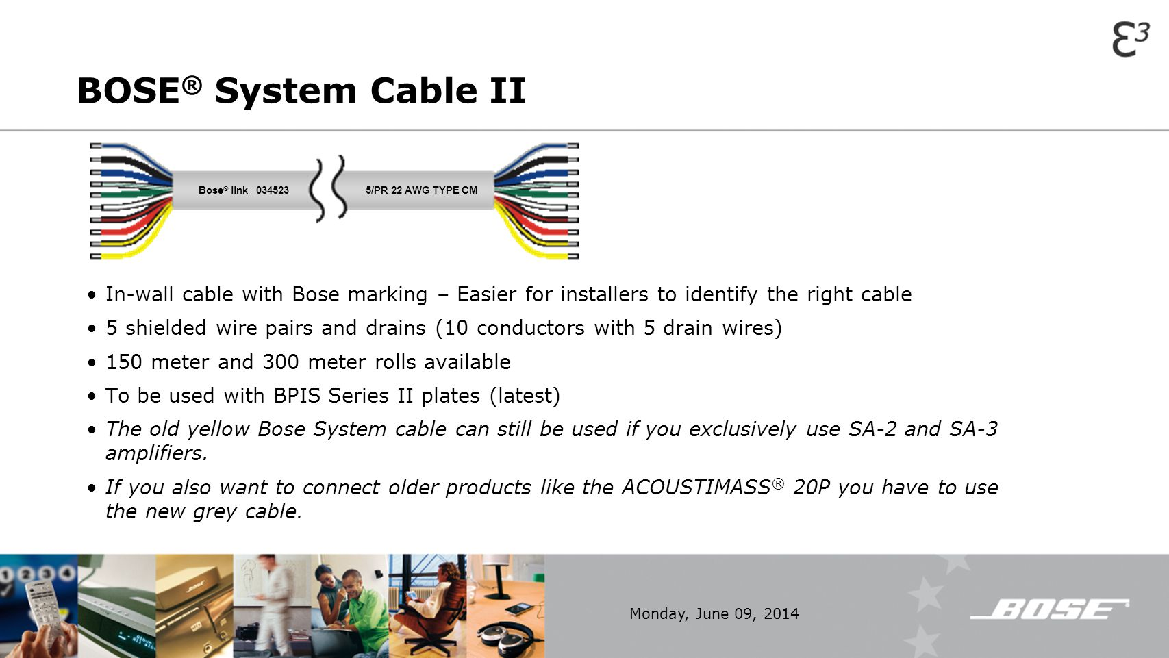BOSE%C2%AE+System+Cable+II+Bose%C2%AE+link+034523.+5%2FPR+22+AWG+TYPE+CM.+In wall+cable+with+Bose+marking+%E2%80%93+Easier+for+installers+to+identify+the+right+cable. bose� link music throughout your home ppt video online download Bose Amplifier Wiring Diagram at mifinder.co