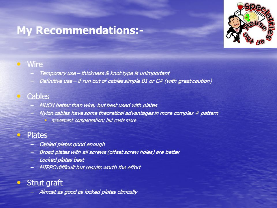 My Recommendations:- Wire Cables Plates Strut graft