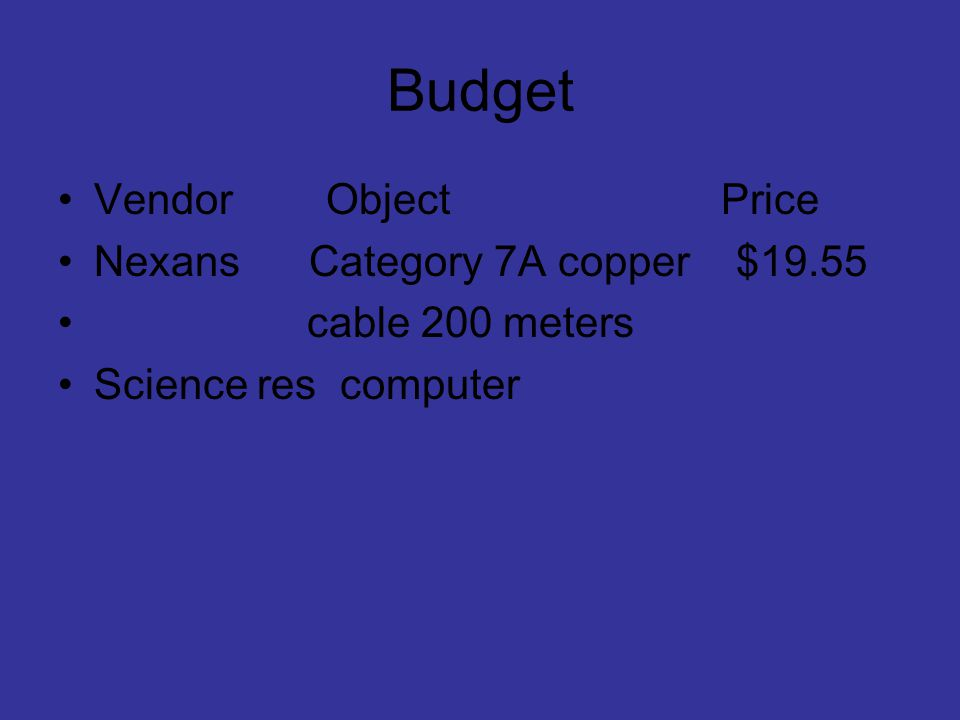 Budget Vendor Object Price Nexans Category 7A copper $19.55
