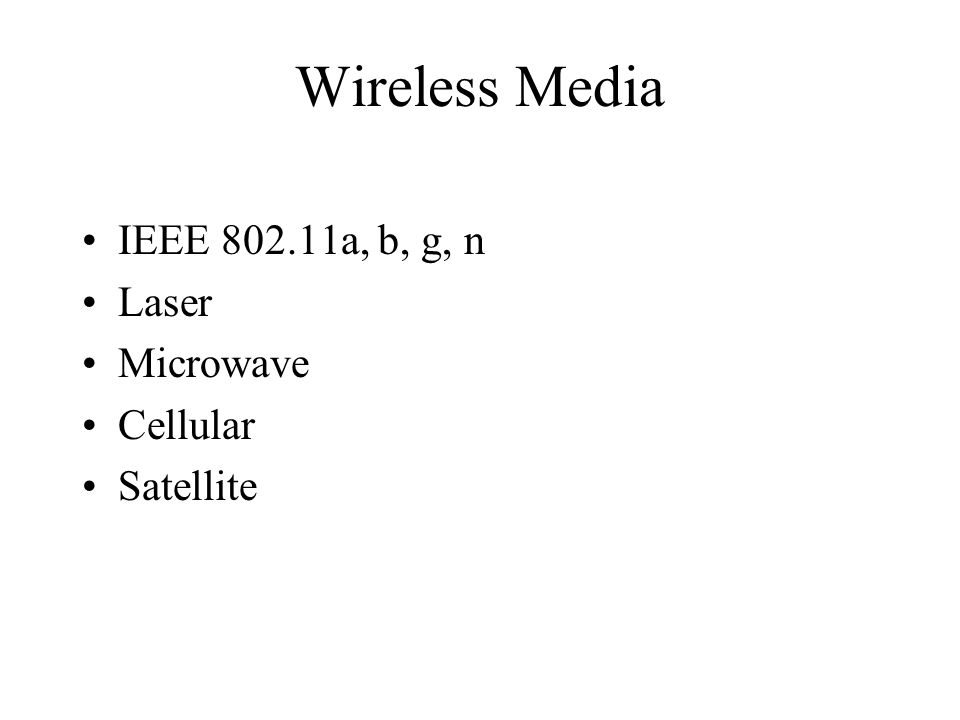 Wireless Media IEEE 802.11a, b, g, n Laser Microwave Cellular