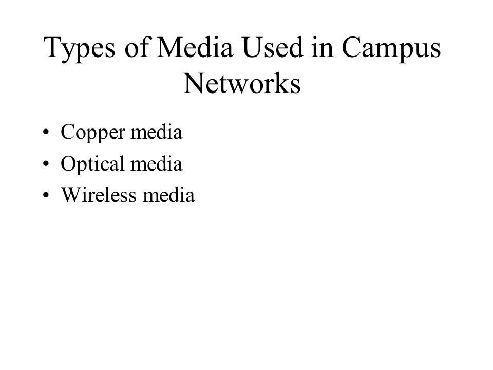 Types of Media Used in Campus Networks