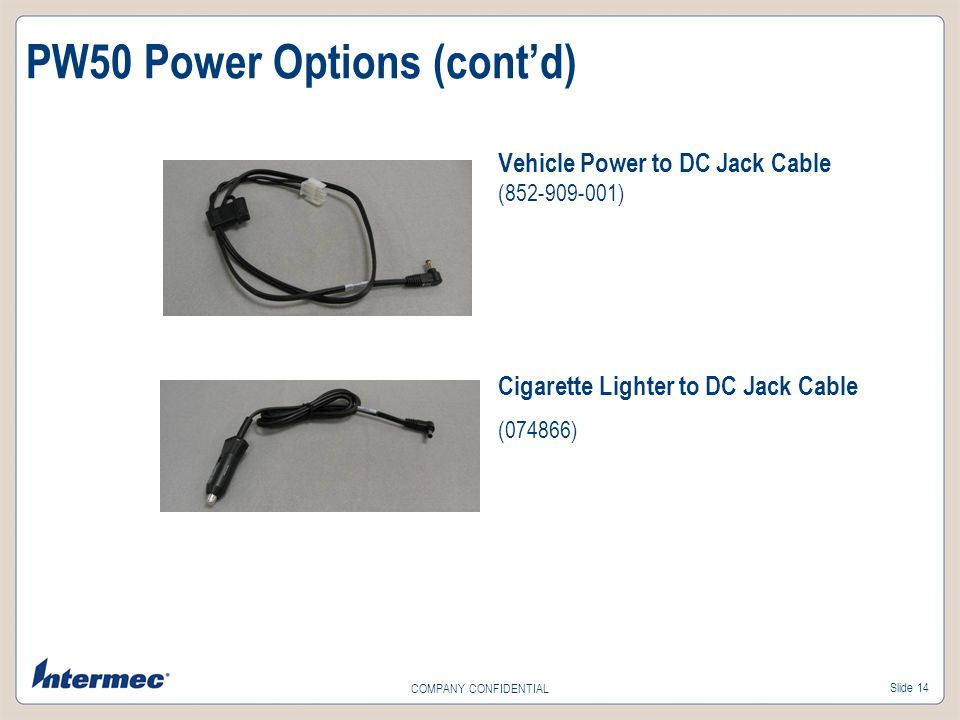 PW50 Power Options (cont'd)
