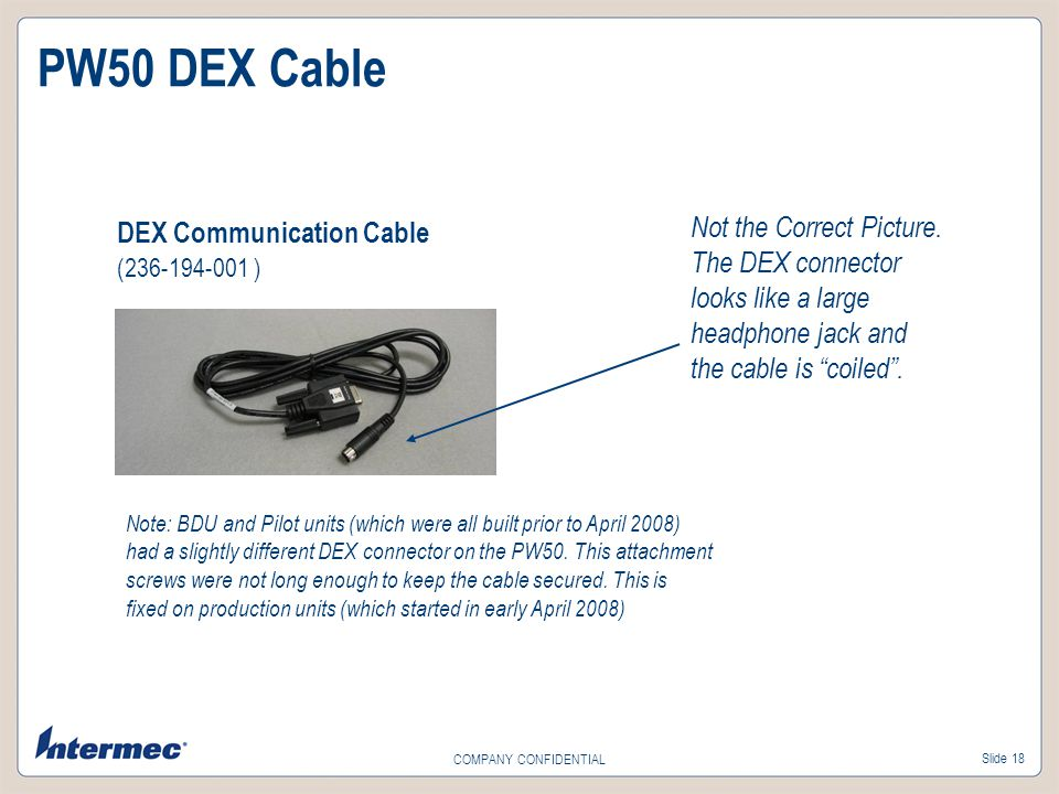 PW50 DEX Cable DEX Communication Cable