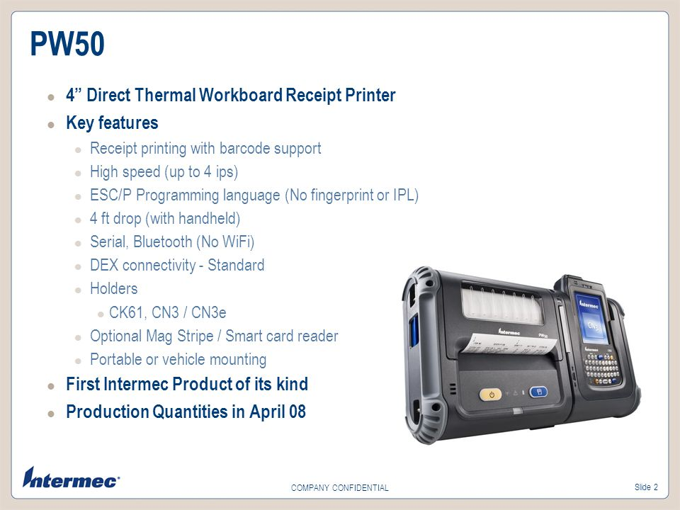 PW50 4 Direct Thermal Workboard Receipt Printer Key features