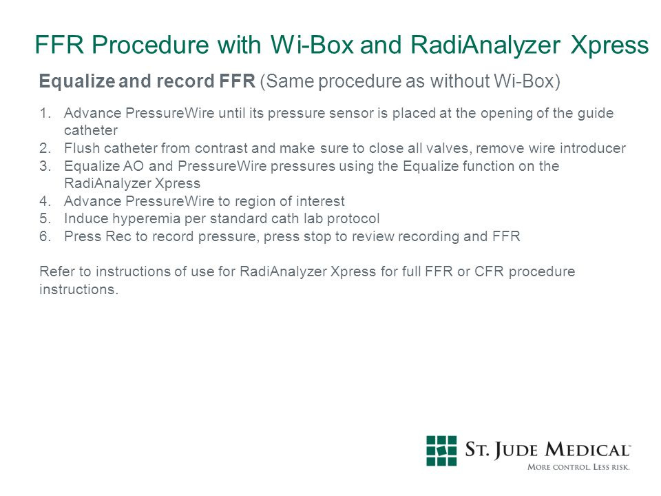 FFR Procedure with Wi-Box and RadiAnalyzer Xpress