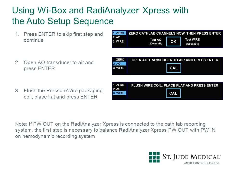 Using Wi-Box and RadiAnalyzer Xpress with the Auto Setup Sequence