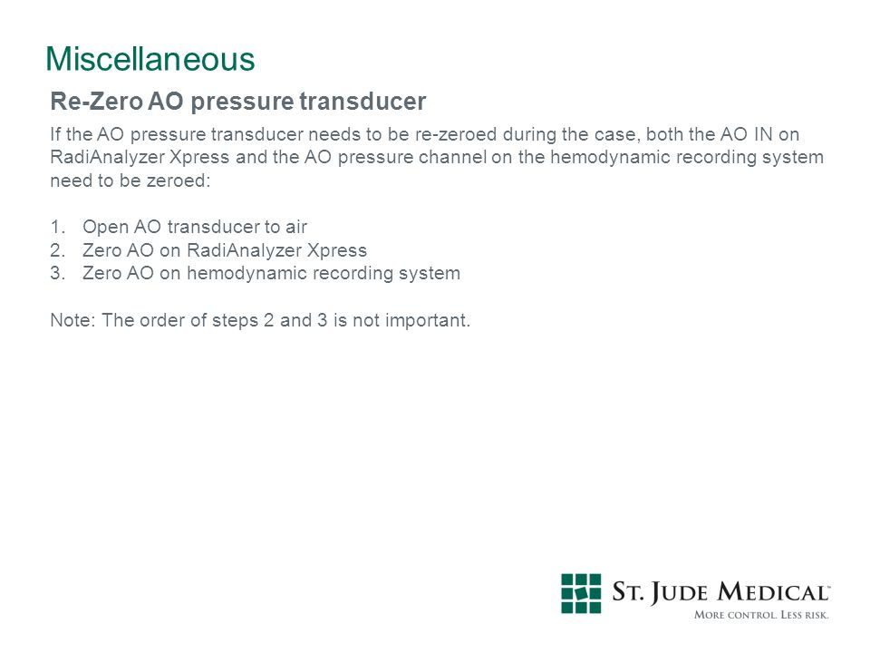 Miscellaneous Re-Zero AO pressure transducer