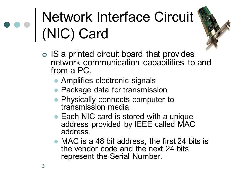 Network Interface Circuit (NIC) Card