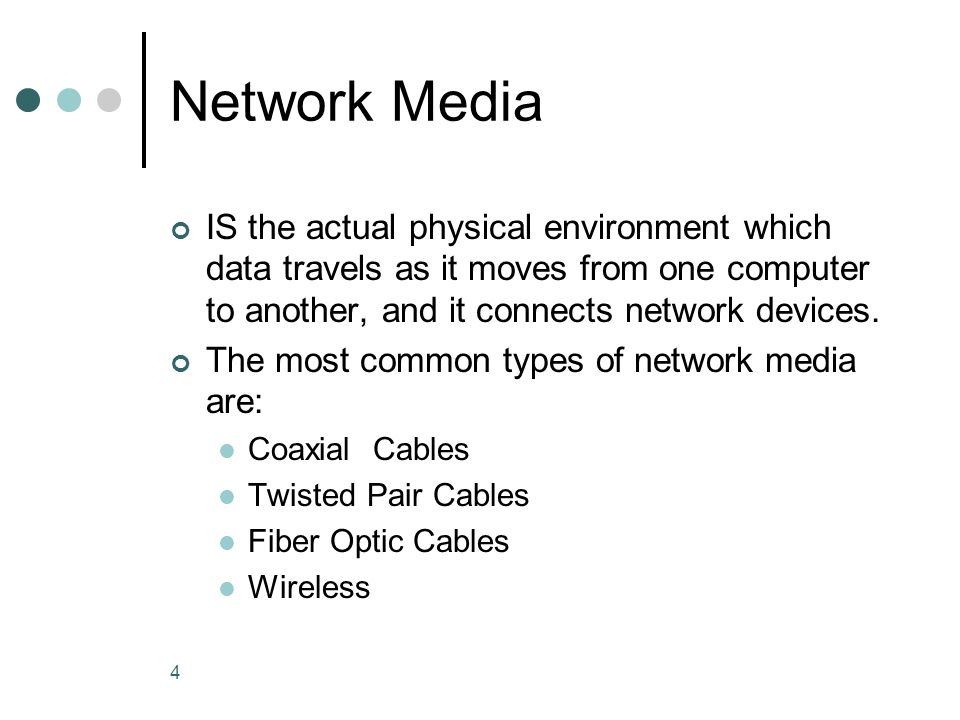 Network Media IS the actual physical environment which data travels as it moves from one computer to another, and it connects network devices.