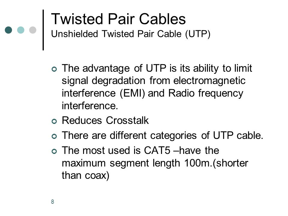 Twisted Pair Cables Unshielded Twisted Pair Cable (UTP)
