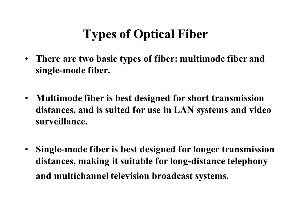 Types of Optical Fiber There are two basic types of fiber: multimode fiber and single-mode fiber.