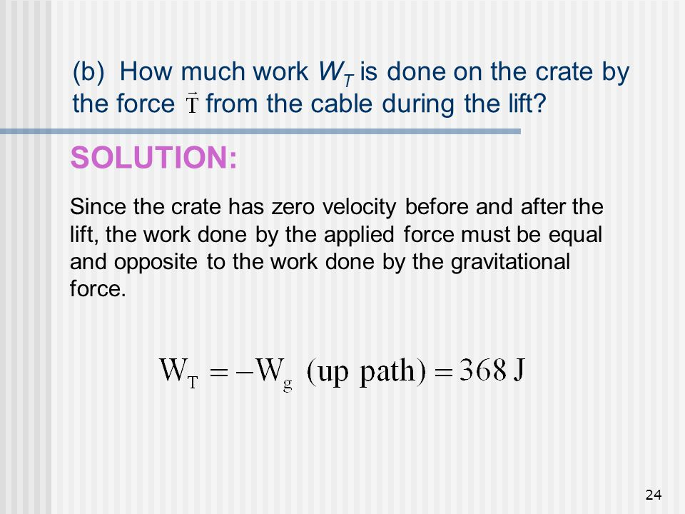 (b) How much work WT is done on the crate by the force from the cable during the lift