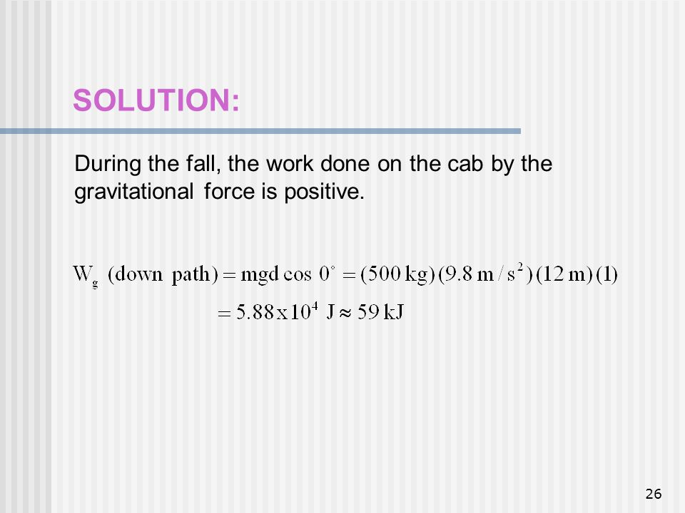 SOLUTION: During the fall, the work done on the cab by the gravitational force is positive.