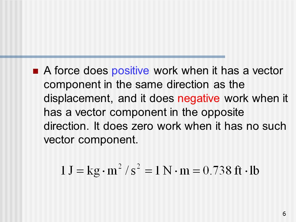 A force does positive work when it has a vector component in the same direction as the displacement, and it does negative work when it has a vector component in the opposite direction.