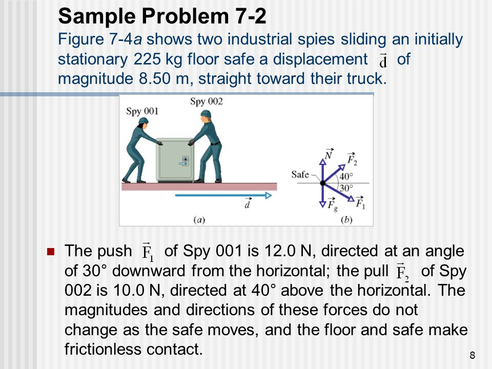 Sample Problem 7-2 Figure 7-4a shows two industrial spies sliding an initially stationary 225 kg floor safe a displacement of magnitude 8.50 m, straight toward their truck.