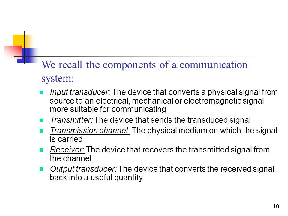 We recall the components of a communication system:
