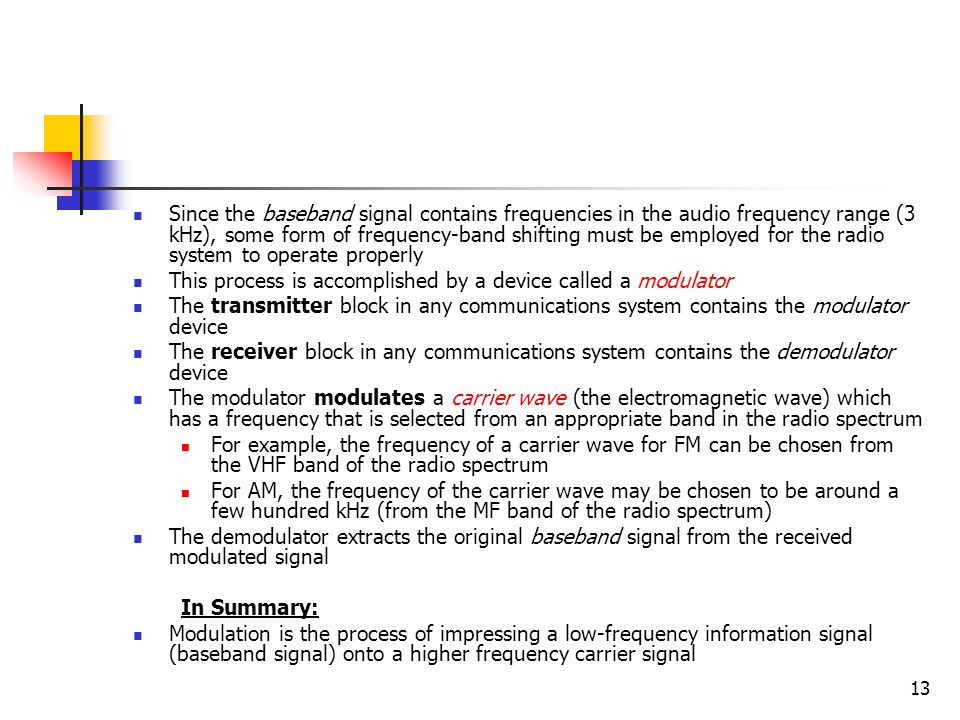 Since the baseband signal contains frequencies in the audio frequency range (3 kHz), some form of frequency-band shifting must be employed for the radio system to operate properly