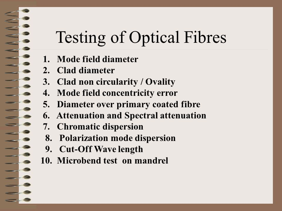 Testing of Optical Fibres