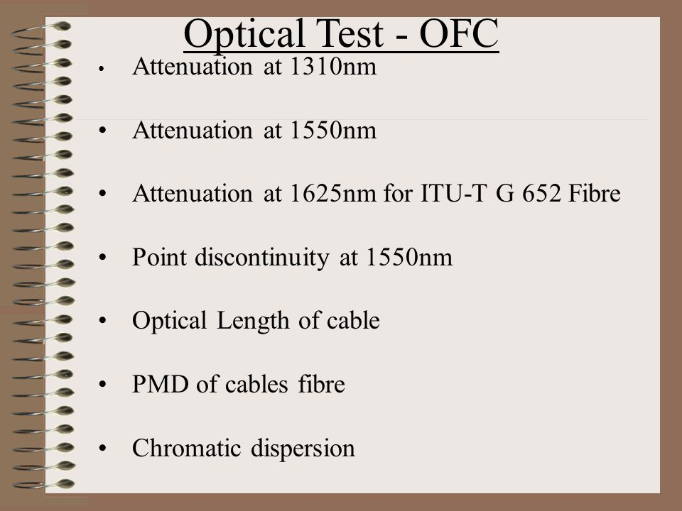 Optical Test - OFC Attenuation at 1550nm