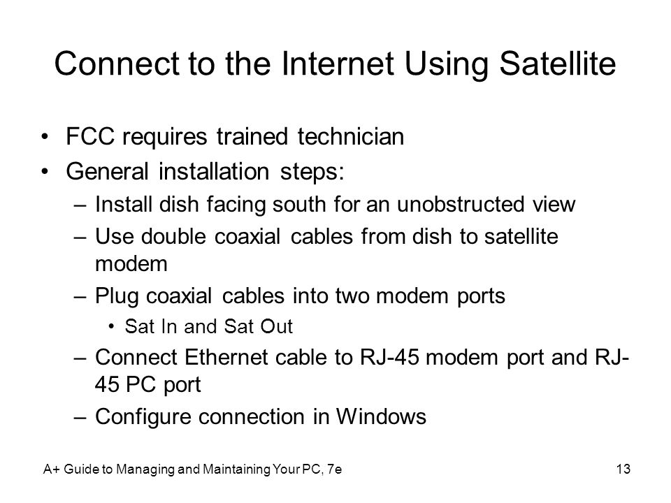 Connect to the Internet Using Satellite