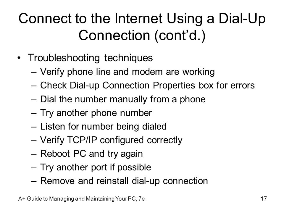 Connect to the Internet Using a Dial-Up Connection (cont'd.)