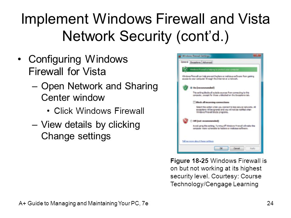 Implement Windows Firewall and Vista Network Security (cont'd.)