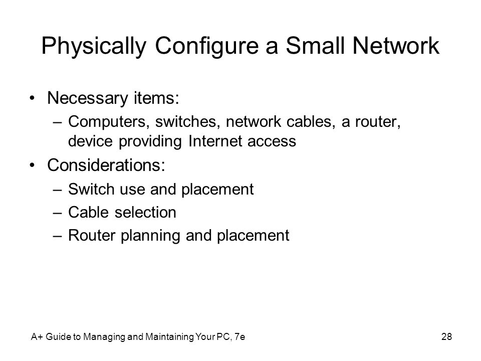 Physically Configure a Small Network